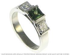 platinum three stone princess cut green sapphire and diamond ring