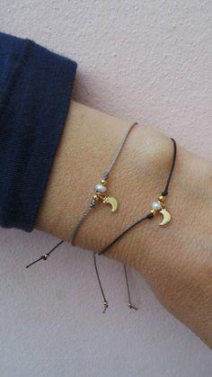 Tiny charm for boyfriend bracelet Tiny moon bracelet. Pearl and crescent bracelet. Cute Bracelets, Ankle Bracelets, Handmade Bracelets, Jewelry Bracelets, Handmade Jewelry, Cute Jewelry, Beaded Jewelry, Jewelry Accessories, Bridesmaid Bracelet