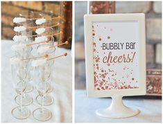 champagne themed shower | pink and gold Cue the Confetti themed baby shower |