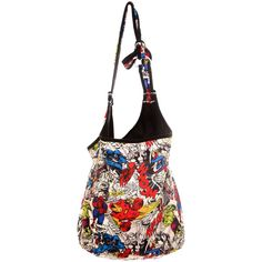 Marvel Universe Heroes Hobo Bag | Hot Topic ($20) ❤ liked on Polyvore featuring bags, handbags, shoulder bags, purses, accessories, sac, hobo handbags, hobo purse, hobo shoulder handbags and shoulder handbags