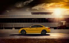 Download wallpapers 4k, BMW M4 Convertible, raceway, 2018 cars, yellow bmw, cabriolets, M4, BMW