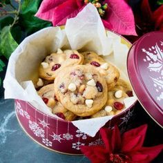 These sweet little cookies contain creamy white chocolate, tangy dried cranberries, and a touch of orange zest for a delightful taste.
