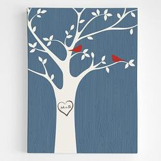 personalized tree initials wall art
