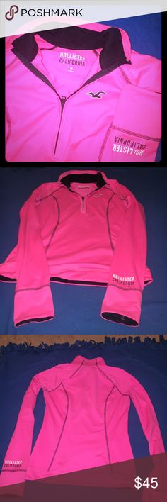 Hot pink long sleeve 3/4 zip w collar Hollister Spandex material, 3/4 zip w collar. No stains. Like new! Hollister Tops Tees - Long Sleeve