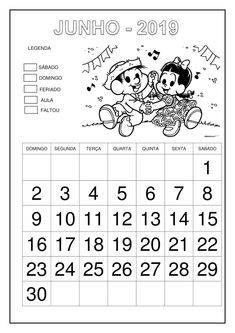 Calendário 2019 - Turma da Mônica Professor, Words, School, 1, Abc Centers, Literacy Activities, Calendar Templates, School Calendar, Cursive