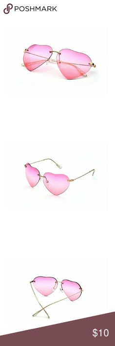 Pink heart shaped sunnies! 💕 Brand new, but came with a very unnoticeable small scratch which I tried to get a picture of, but it doesn't show up. Accessories Sunglasses