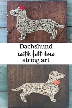 Aren't dachshunds the cutest dogs! This string art sign, either the boy one with the felt bow tie or the girl one with the bow ribbon, would surely make a very cute addition to your home decor or a fun addition to the kids room. #stringart #ad #wallart #walldecor #homedecor #dachshund #kidsroom #girlsroom #boysroom #giftideas #birthdaygifts #dogs #doglovers #felt