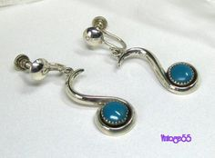 Vintage Earrings Turquoise Sterling drop screw back by Vintage55, $18.00