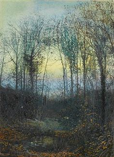 John Atkinson Grimshaw, A wooded valley, probably Bolton Woods; Lovers in a woodland clearing