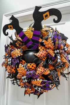 Halloween Wreath Halloween Decor Witch Legs in a Pot