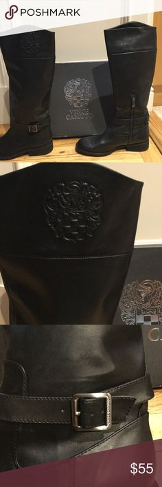 """Vince Camuto Tall Black Riding Boots Excellent pre-loved condition!  These black boots will look great on. Adjustable silver buckle on ankle. Short zipper on each inside leg of boot 1""""heel 6"""" zipper 14 1/2"""" Cath 17 1/2"""" height of boot Shoes Heeled Boots"""
