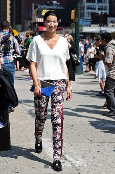 NYFW Street Style Day 3: Lily Kwong's printed pants were the star of her outfit.