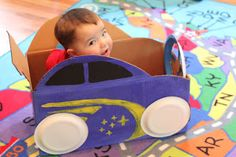 Baby car made out of a diaper box. I love this easy DIY car. The paper plate tires and steering wheel are perfect. And kids always love to play in the boxes.