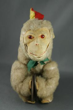VTG Wagner Germany Flocked Wind Up Toy Monkey with Cymbals 40's/50s