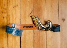 Vintage Designer Alexis Kirk Navy Blue Snakeskin Adjustable
