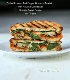 Roasted Red Pepper Hummus Sandwich with roasted Cauliflower, Sweet Potato, and July 4th cookout round up. Vegan - Vegan Richa