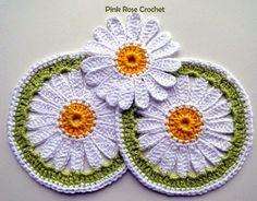 Hobby lavori femminili - ricamo - uncinetto - maglia: mattonella girasole uncinetto