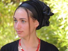 Black Stretched Satin Silk Turban Sinar Tichel,Hair Snood, Head Scarf,Head Covering,jewish headcovering,Scarf,apron