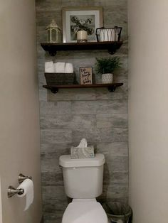 My basic bathroom lacked personality, color, style and decor. It was just boring. So here I am going to show you step by step how I transformed the water closet. decor ideas Guest Bathroom With Toilet Closet Makeover Toilet Closet, Bathroom Closet, Downstairs Bathroom, Bathroom Interior, Modern Bathroom, White Bathroom, Peach Bathroom, Bathroom Accent Wall, Wood Wall In Bathroom