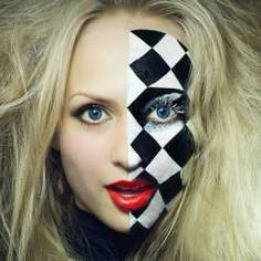 The white queen is innocent and childlike. The whole Alice in Wonderland aesthetic always revolves around chess and cards. A chessboard in a way represents times of childhood fun, so I will be incorporating one in the white queen half. However, it will only be for the eye and drooping down the cheek, rather than the full half-face.