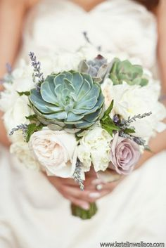 Succulent Bridal Bouquets {Trendy Tuesday} | Confetti Daydreams - Succulent bouquet adorned with lavender sprigs and pastel roses ♥  ♥  ♥ LIKE US ON FB: www.facebook.com/confettidaydreams ♥  ♥  ♥ #Wedding #Succulents #Bouquets