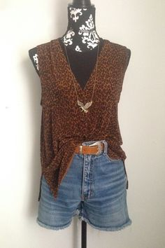 70315b34dd419 Items similar to 90 s KIM   Co. Leopard Print Tank Top W Slits Loose Fit  Flattering Fit Authentic 1990 s Fashion Vest Blouse Sleeveless Tank Top  Animal ...