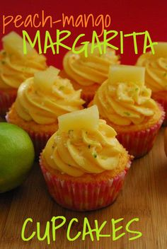 Peach-Mango Margarita Cupcakes recipe - perfect for Cinco de Mayo! Margarita Cupcakes, Mango Margarita, Mango Cupcakes, Yummy Cupcakes, Baking Cupcakes, Cupcake Recipes, Cupcake Cakes, Dessert Recipes, Cupcake Ideas