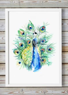 Peacock Art Watercolor Painting Giclee print by Zendrawing