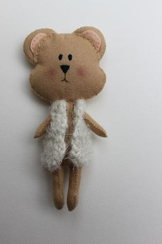 Wool felt Bear  Eco friendly baby and toddler soft toy by Pegorina, $33.00