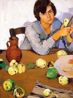 """Peeling Quinces"" by Greek artist, Nikolaos Lytras Greek Paintings, Social Art, Painter Artist, Greek Art, Art Database, Conceptual Art, Love Art, Female Art, Art History"
