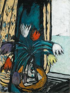 MAX BECKMANN Still Life with Tulips and a View of the Sea