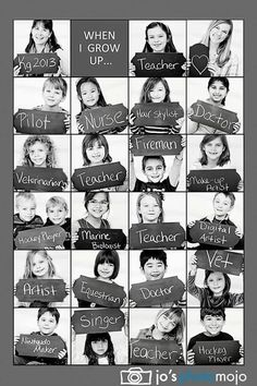 Kindergarten class photo collage of their potential professions. Really cute idea for kindergarten teacher! End Of School Year, Beginning Of School, High School, Middle School, End Of The Year Class Party Ideas, First Day At School, Student Gifts End Of Year, Starting School, School Life