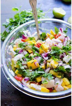 Ceviche de crevettes, ananas, mangue et citron vert idée recette pinterest