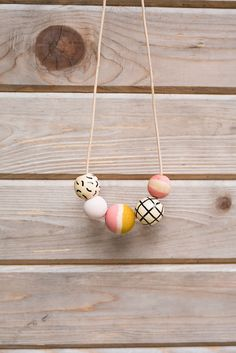 SHIPS TODAY Hand Painted Wooden Bead Necklace in Pink by annajoyce