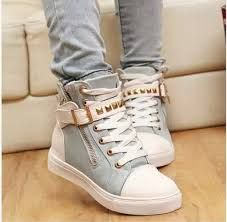 New spring shoes women rivets canvas shoes +PU surface fashion belt buckle high running shoes for leisure sneakers Moda Sneakers, Best Sneakers, Running Sneakers, Sneakers Fashion, Running Shoes, Fashion Shoes, High Top Sneakers, High Fashion, Women's Fashion
