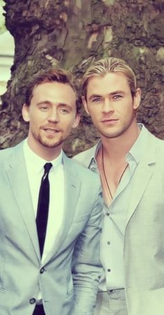 Tom Hiddleston and Chris Hemsworth
