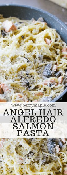 Creamy delicious angel hair Alfredo salmon pasta for your next family dinner! Its good to have angel hair pasta on hand in your home pantry! It cooks very fast and tastes fantastic with a simple Recipes Using Pasta, Salmon Pasta Recipes, Pasta Dinner Recipes, Fish Recipes, Seafood Recipes, Cooking Recipes, Healthy Recipes, Creamy Salmon Pasta, Noodle Recipes