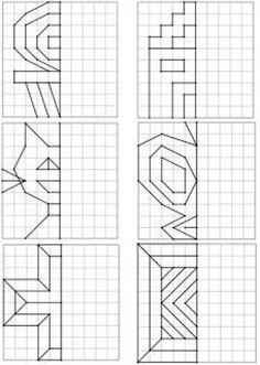 Voici un nouveau dos Kids Math Worksheets, Learning Activities, Preschool Learning, Teaching Math, Symmetry Math, Visual Perception Activities, Graph Paper Art, Cycle 2, Math Art