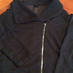 Mossimo Black Casual Wear Open Collar Jacket XL Super Cute & Comfy Casual Mossimo Jacket  open neck collar- sort of like a cowl neck with a slanted zipper to add a little style. Washed/worn a couple of times.  Smoke Free Home Mossimo Supply Co Jackets & Coats
