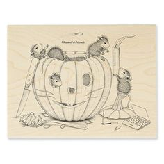 """""""PUMPKIN CARVING"""", Stock #: HMR43, from House-Mouse Designs®. This item was recently purchased off from our web site. Click on the image to see more information."""