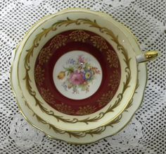 Vintage Tea Cup and Saucer, Foley Bone China, 1850 EB,  Made in England by TheDHCollection on Etsy