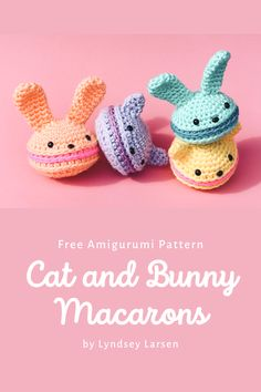 What tea party would be complete without some scrumptious treats? Enjoy this free amigurumi pattern on me! Make some sweet crochet bunny or kitty macarons. Kawaii Crochet, Crochet Food, Easter Crochet, Cute Crochet, Crochet Crafts, Crochet Projects, Crochet Geek, Beginner Crochet, Crotchet