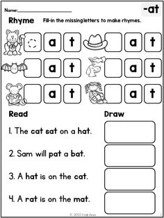 Rhyme, Read, Draw: Word Family Practice