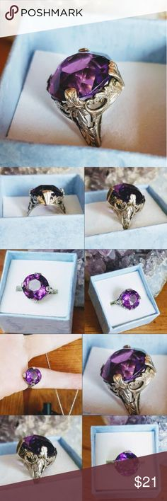 Deep Purple Faceted Amethyst Glass Ring Set in sterling silver, this one makes for a nice pinkie ring due to it's size (4).  A very nice setting indeed leading to that of the Art Nouveau period.  Purchased from another, but never wear. This one does have some issues, so please ses a pics closely and ask any questions prior to purchase to avoid any misunderstandings. Vintage Jewelry Rings