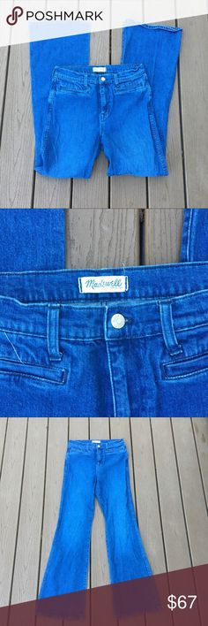 Madewell Medium Wash Flea Market Flare Jeans In a medium wash, these flare jeans by - are an excellent staple piece. The - detail makes for a great item. Made from -. In good condition. Approximate measurements lying flat: Madewell Jeans Boot Cut