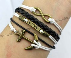 bronze anchor and infinity karma bracelet by Goodlife188, $4.99