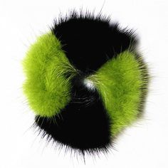 100%Handmade Real Soft Black   Green MINK Fur Hair Holder Scrunchie  Ponytail DP3 f9f0b22159cb2
