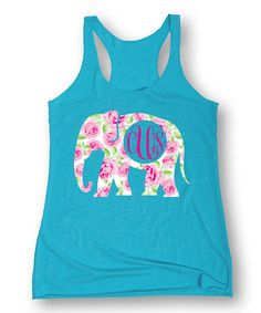 This Sharp Wit Turquoise Floral Elephant Monogram Racerback Tank by Sharp Wit is perfect! #zulilyfinds