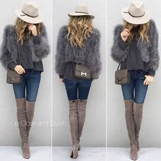 WEBSTA @ upcloseandstylish - From last fall - #Reiss hat, #MiuMiu sweater, #BCBG feather jacket, #JBrand jeans, #StuartWeitzman boots and #Hermes #Constance18 in etain.