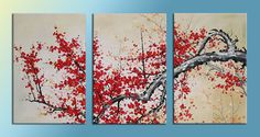 Red Flowers on a tree branch 3 panel painting by LoveCustomArt